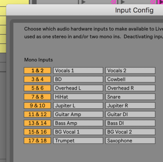 ableton live 10 inputs outputs