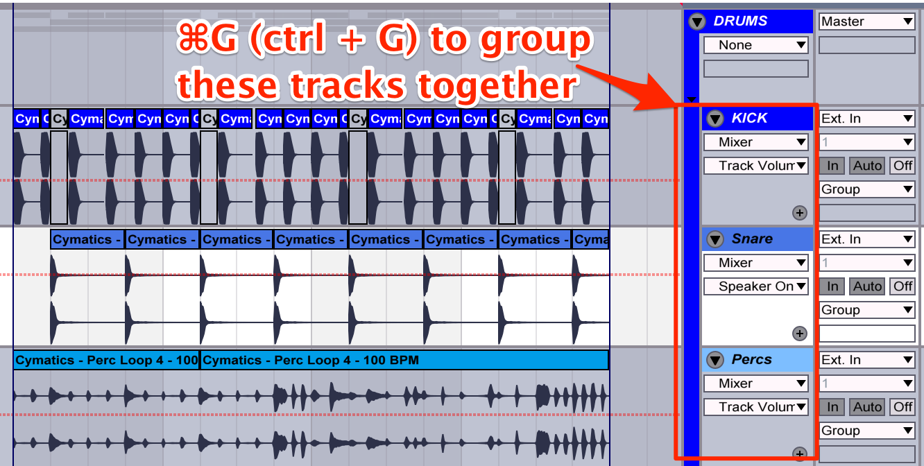 cymatics-ableton keyboard-shortcuts-group tracks